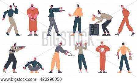 Criminal Characters. Thieves, Crooks And Robbers Commit Crime, Arrested Prisoners In Uniform Vector