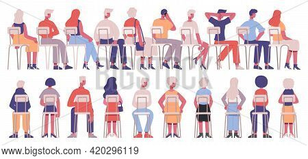 Sitting People Back View. Students Or Business Training Audience, Characters View From Back Sitting