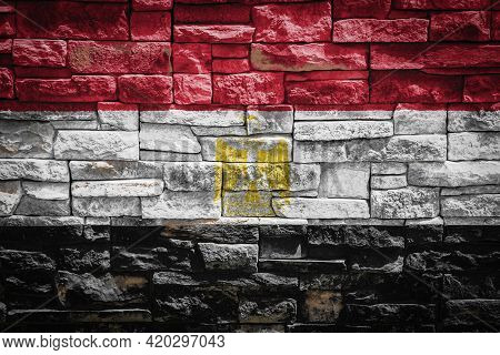 National Flag Of Egypt On Stone  Wall Background.the Concept Of National Pride And Symbol Of The Cou