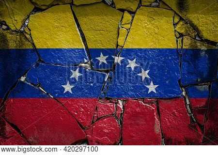 National Flag Of Venezuela Depicting In Paint Colors On An Old Stone Wall. Flag  Banner On Broken  W