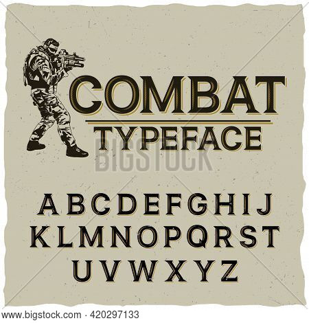 Combat Typeface Poster With Hand Drawn Soldier On Grey Background Vector Illustration