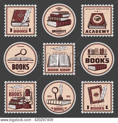 Colored Education And Bookstore Stamps Set With Different Books Magnifier Feather Inkwell Lantern In