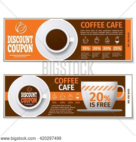 Coffee Discount Coupon Or Gift Voucher. Label Coffee Discount, Banner Coupon, Voucher Coffee Espress