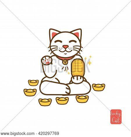 Cute Cartoon White Maneki Neko, Japanese Lucky Cat Holding Golden Coin. Good Luck Feng Shui Kitty Dr