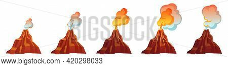 Volcanic Eruption Process In Different Stages. Volcano Erupt With Flow Magma, Fire And Clouds Of Smo