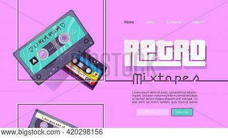 Retro Mixtape Banner With Vintage Audio Cassettes With Pop And Rock Music Of 80s And 90s. Vector Lan