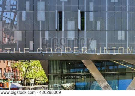 New York, New York - Apr 24, 2021: Facade Of The Cooper Union Building In The East Village Of New Yo