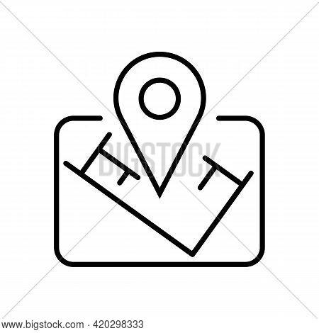 Location Mark Place Thin Black Line Icon. Landmark Concept. Trendy Flat Style Isolated Symbol, Used