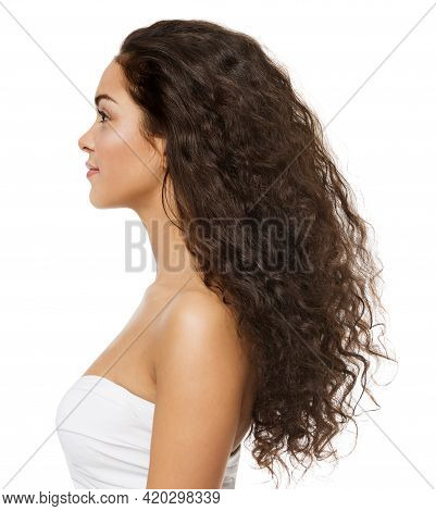 Black Curly Hair Latin Model Profile Side View Isolated White Background. Beauty Woman Afro Curls Ha