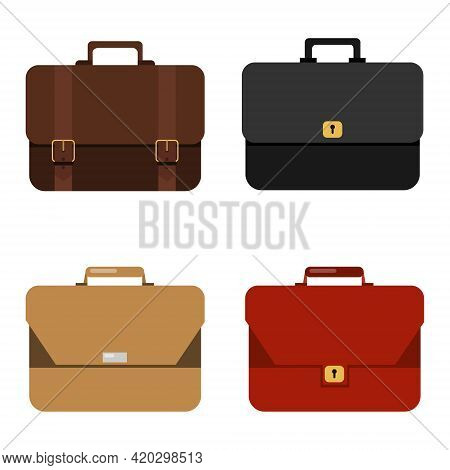 Briefcases, Set Of Business Portfolios Isolated On White Background. Vector, Cartoon Illustration. V