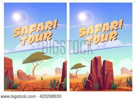 Safari Tour Posters With African Savannah Landscape. Vector Flyer Of Exotic Travel In Savanna Or Des