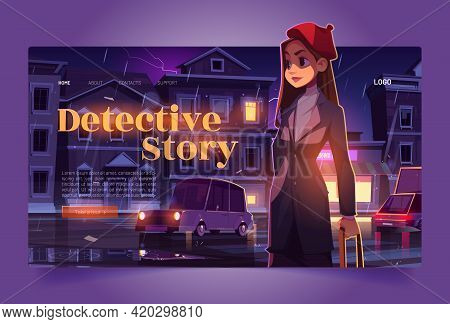 Detective Story Tour Banner With Woman Sleuth. Travel Agency Website With Cartoon Night City Street