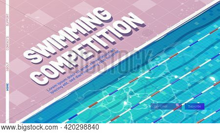 Swimming Competition Cartoon Landing Page. Sport Pool, Top View With Blue Ripped Water, Ceramics Flo