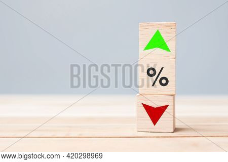 Percentage To Up And Down Arrow Symbol Icon On Table. Interest Rate, Stocks, Financial, Ranking, Mor