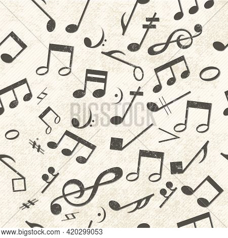 Colorful Music Seamless Pattern Chaotically Placed Notes And Treble Clef On Light Gray Background Wi