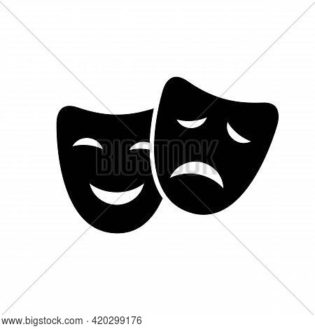 Comedy And Drama, Tragic And Comic Face Mask Black Icon. Happy And Sad Mood Silhouette. Trendy Flat