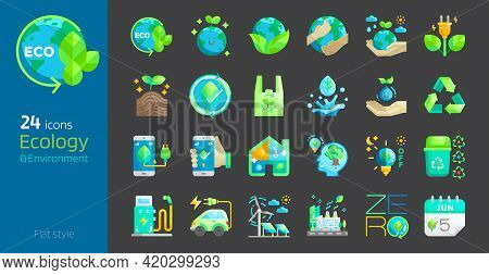 Ecology Flat Style Icon Set. Safe Earth,water,energy,renewable Concept Environment Day And Earth Day