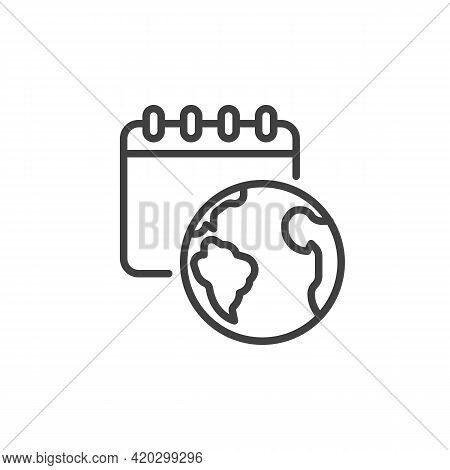 World Environment Day Line Icon. Linear Style Sign For Mobile Concept And Web Design. Calendar And E