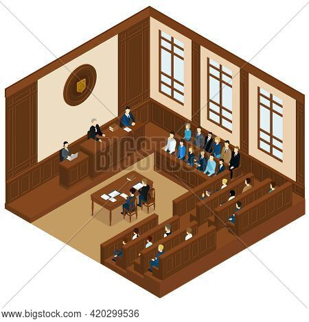 Court Session Isometric Template With Judge Defendant Attorney Jury And Witnesses Vector Illustratio