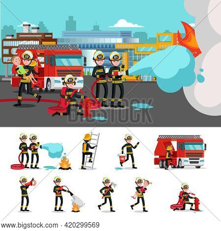 Colorful Firefighting Composition With Rescue Brigade Extinguishing Fire Saving Child And Firefighte