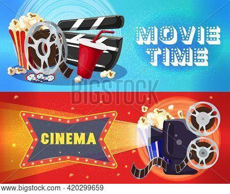 Bright Cinema Horizontal Banners With Film Reel Popcorn Soda Tickets Clapperboard Movie Camera Films