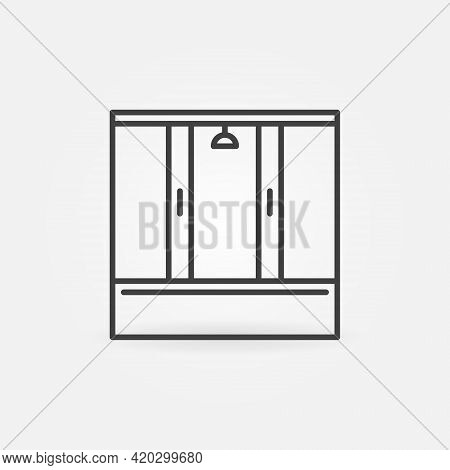 Shower Cabin Linear Vector Concept Icon Or Sign