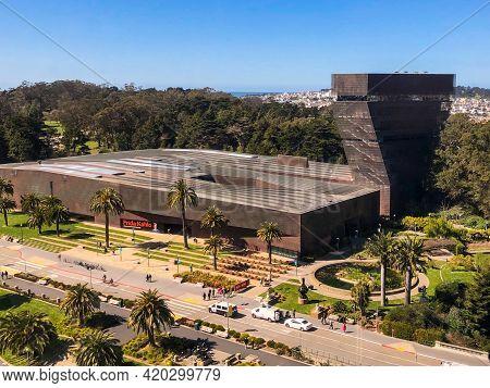 San Francisco - March 6: Aerial View Of De Young Memorial Museum In Golden Gate Park, San Francisco.