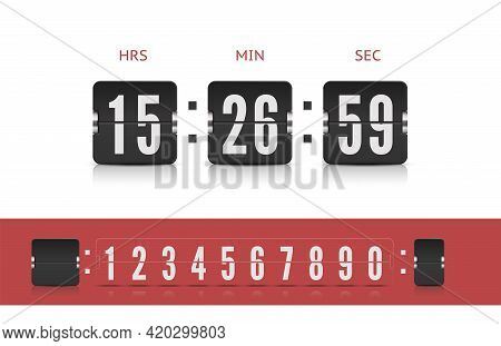 Coming Soon Web Page Design With Flip Time Counter. Scoreboard Number Font. Vector Modern Ui Design