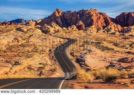 Winding Road Through Valley Of Fire State Park, Nevada.