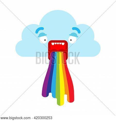 Cloud Vomits Rainbow Isolated. Cartoon Vector Illustration