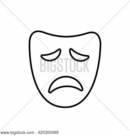 Drama Or Tragic Face Mask Thin Black Icon. Sad Mood Silhouette. Trendy Flat Isolated Symbol, Sign Fo
