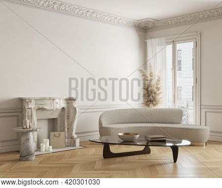Beige-white Classic Interior With Fireplace, Sofa, Coffee Table And Decor. 3d Render Illustration Mo