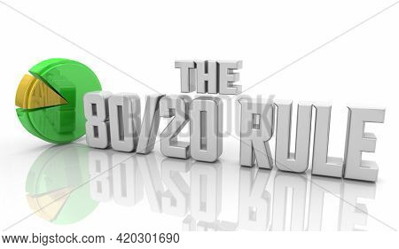 The 80-20 Rule Results Come From Few Power Distribution Pie Chart 3d Illustration