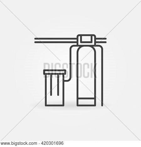 Water Softener With Iron Removal Vector Line Concept Icon