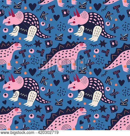 Vector Illustration. Dinosaurs Seamless Pattern. Triceratops And Stegosaurus On Azure Blue Backgroun
