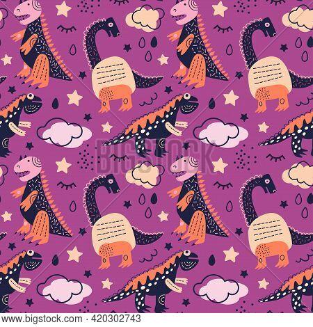 Vector Illustration. Dinosaurs Seamless Pattern Tyrannosaurus Rex, Brachiosaurus, Pink Clouds, Stars