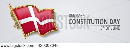 Denmark Happy Constitution Day Greeting Card, Banner With Template Text Vector Illustration