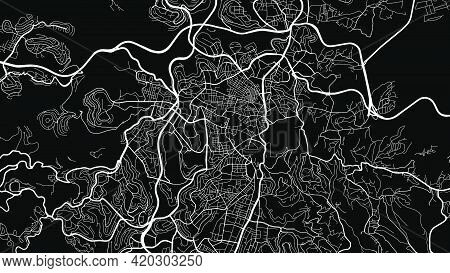 Black And White Jerusalem City Area Vector Background Map, Streets And Water Cartography Illustratio