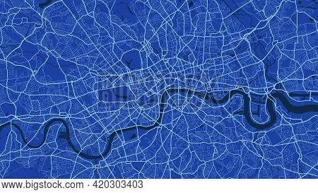 Blue London City Area Vector Background Map, Streets And Water Cartography Illustration. Widescreen