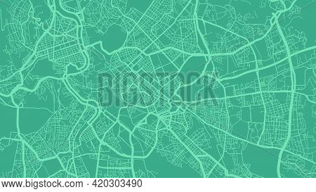 Green Cyan Rome City Area Vector Background Map, Streets And Water Cartography Illustration. Widescr