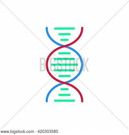 Dna Helix Or Chromosome Color Icon Design Isolated On White Background. Medical Research Concept. Sy