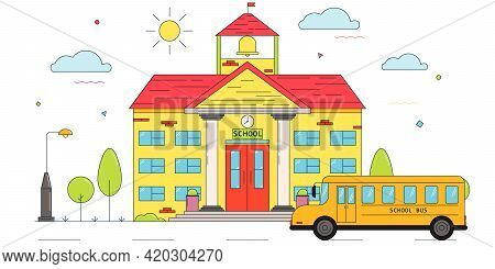 School Building And School Bus. Back To School Concept. Cute Vector Illustration Isolated On White B