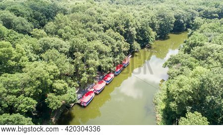 Aerial View Of Boats For Trip On The River. Ropotamo River, Bulgaria.
