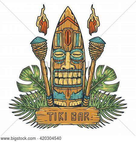 Surfing Tiki Mask Of Hawaii Or Idol. Ethnic Totem