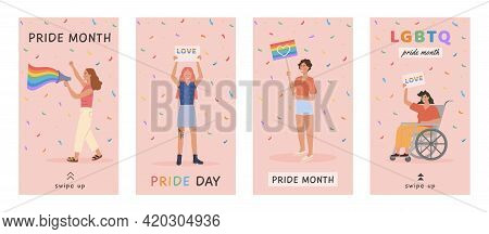 Vector Banner Or Vertical Social Media Story Set On Pink With Lgbt People Holding Rainbow Flag, Mega