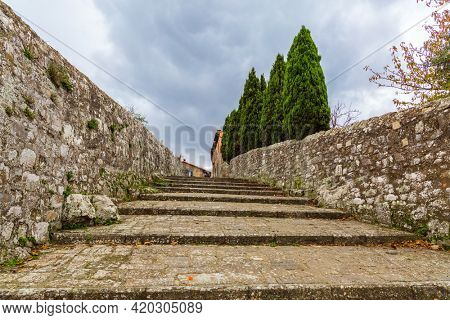 Beautiful gentle descent. Cloudy autumn day in Tuscany. The small town of Montalcino. The concept of cognitive, active and photo tourism