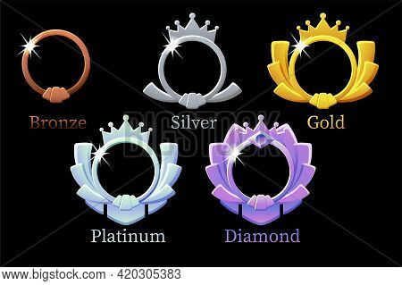 Frame Game Rank, Gold, Silver, Platinum, Bronze, Diamond Round Avatar Template 6 Steps Animation For