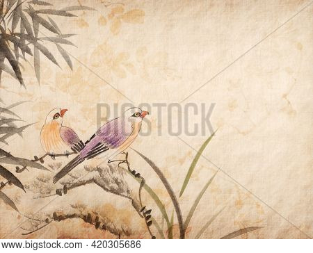 Traditional chinese painting two birds on old Paper Background