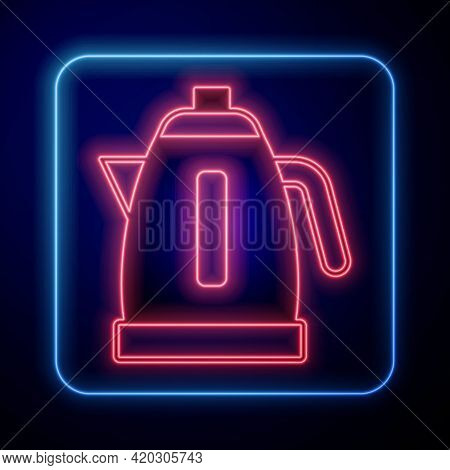 Glowing Neon Electric Kettle Icon Isolated On Black Background. Teapot Icon. Vector