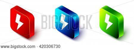 Isometric Lightning Bolt Icon Isolated On White Background. Flash Sign. Charge Flash Icon. Thunder B